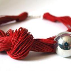Red linen Necklace with silver